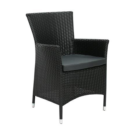 Tuoli WICKER-1, tyyny, 61x58xH86cm, teräsrunko muovipunoksella, väri: musta