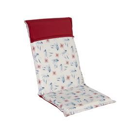 Istuin-/selkänojapehmuste FLORIDA SEA 7 pos. tuolille, 48x115cm, paksuus 6cm, laivat/punainen