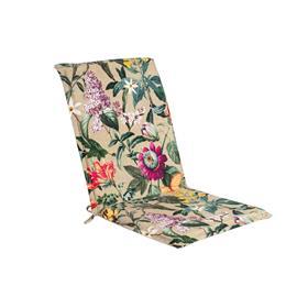 Istuin-/selkänojapehmuste AMAZONIA 42x90x3cm, kukat/ beige kangas, 50%polyesteri/ 50%puuvilla