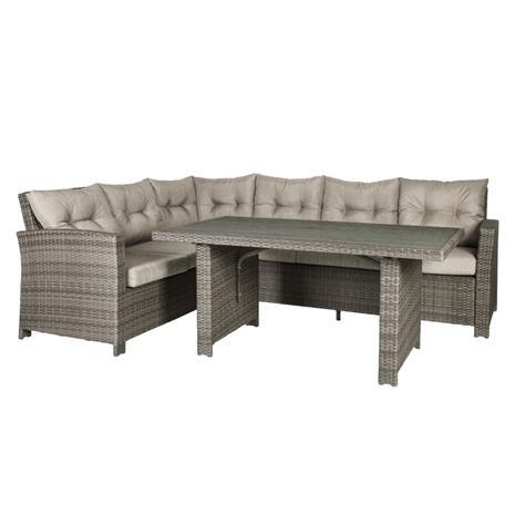 Puutarharyhmä PAVIA tyynyillä, pöytä ja kulmasohva, alumiinirunko muovipunoksella, väri: ruskea