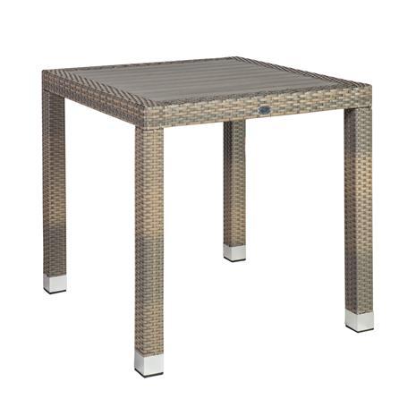 Pöytä LARACHE 80x80xH75cm, pöytälevy: tekopuu, väri: harmaa, alumiinirunko muovipunoksella, väri: harmaa