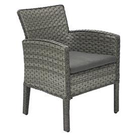 Tuoli GENEVA tyynyllä, 64x62xH85,5cm, alumiinirunko muovipunoksella, väri: harmaa
