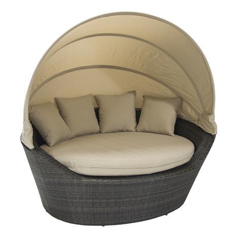 Sohva MINI MUSE katoksella 160x130x70cm, alumiinirunko muovipunoksella, väri: tummanruskea