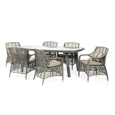 Puutarharyhmä WHITAKER tyynyillä, pöytä ja 6 tuolia, runko: alumiinirunko muovipunoksella, väri: harmaa