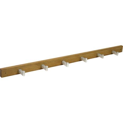 Seinänaulakko MONDEO 6-koukkua, 82x4,5cm, puu: tammi, viimeistely: öljytty