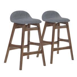 Baarijakkarat 2kpl. BLOOM 47x51xH86cm, istuin: kangas, väri: harmaa, jalat: kumipuu, väri: pähkinä