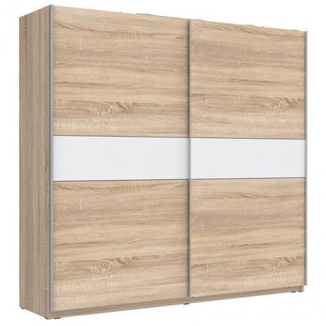 Winner Plus -vaatekaappi, liukuovet, 220 cm, sonoma tammi-valkoinen