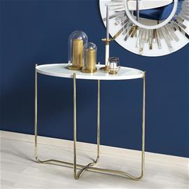 Apupöytä KN2, valkoinene/kultainen