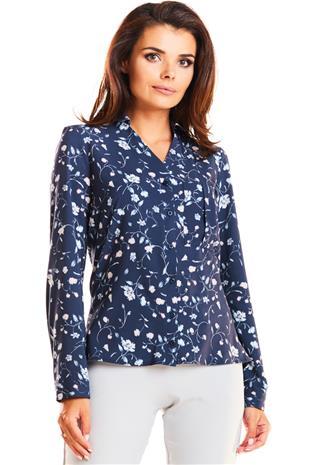 Naisten paita, tummansininen-kukallinen, M (38)