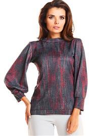 Naisten paita, tummanharmaa-punainen, S (36)