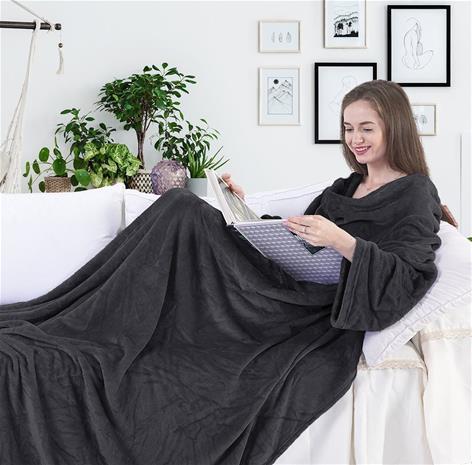 LAZY Snug -torkkupeitto hihoilla ja taskuilla, harmaa 170 x 200 cm