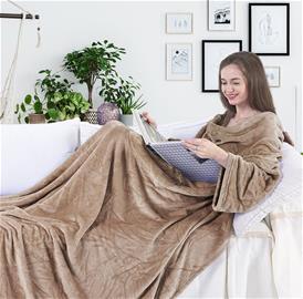 LAZY Snug -torkkupeitto hihoilla ja taskuilla, beige 170 x 200 cm