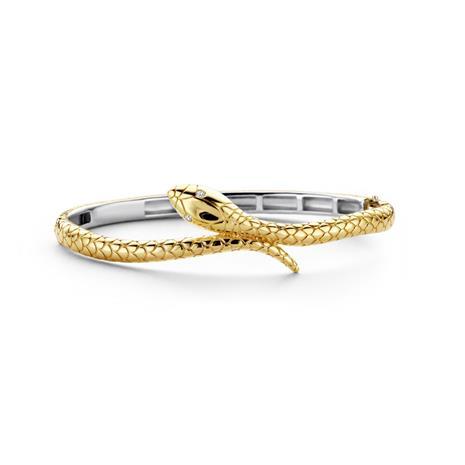 Ti Sento kullattu hopeinen rannerengas käärmekuviolla
