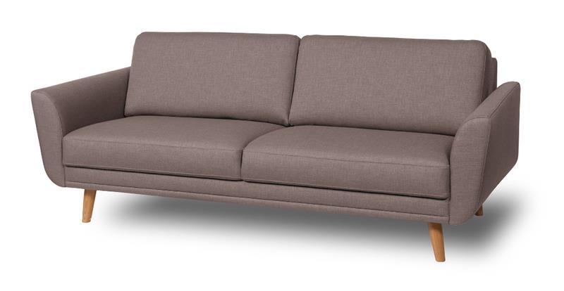 Happy sohva, kolmen istuttava, ruskeanharmaa