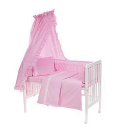 Sänkysetti 6-osainen, vauvan sängylle 60x120 cm, pitsillä (vaaleanpunainen)