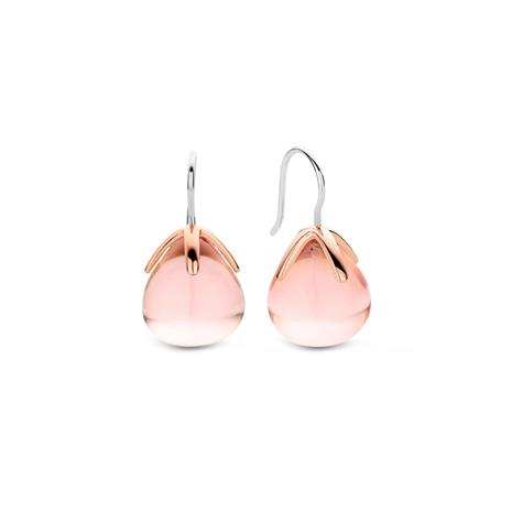 Ti Sento pisaranmuotoiset korvakorut vaaleanpunaisella kivellä