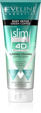 Eveline Cosmetics SLIM 4D Detox vihreä kahvi selluliittiseerumi, 250 ml