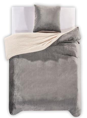 Teddy Antracite -pussilakanasetti, 155 x 220 cm + tyynyliina 80 x 80 cm
