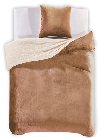 Teddy Cappucino -pussilakanasetti, 155 x 220 cm + tyynyliina 80 x 80 cm