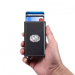 RFID pop-up-korttikotelo kangaspinnalla - Vaaleanpunainen