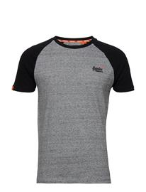 Superdry Ol Classic Ss Baseball Tee T-shirts Short-sleeved Harmaa Superdry COLLECTIVE DARK GREY GRIT, Miesten paidat, puserot ja neuleet