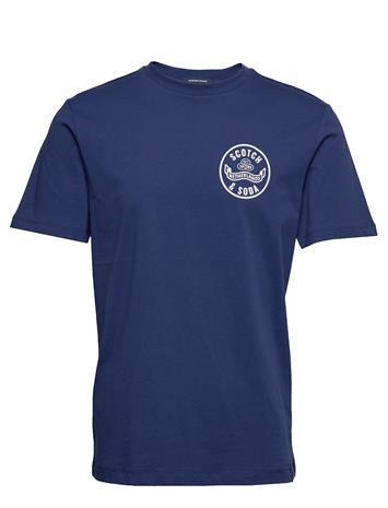 Scotch & Soda Crewneck Tee With Logo Artwork T-shirts Short-sleeved Sininen Scotch & Soda DENIM BLUE