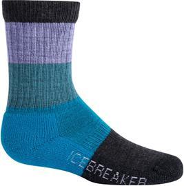 Icebreaker Hike Crew Macro Stripe Light Cushion Socks Kids, orchid/blue spruce