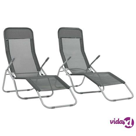 vidaXL Kokoontaitettavat aurinkotuolit 2 kpl textilene antrasiitti
