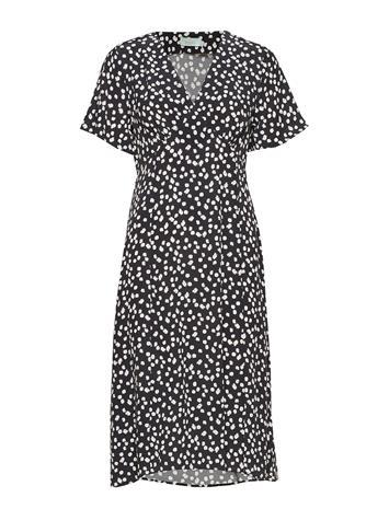 Morris Lady Livier Printed Dress Polvipituinen Mekko Musta Morris Lady BLACK, Naisten hameet ja mekot