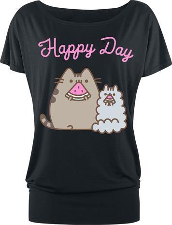 Pusheen - Happy Day - T-paita - Naiset - Musta