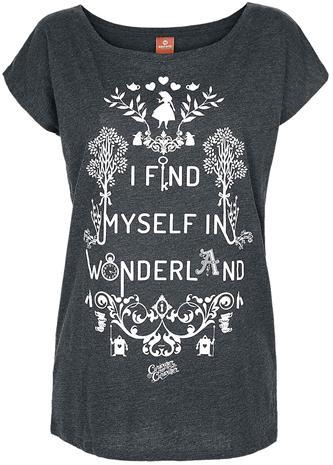 Liisa Ihmemaassa - I Find Myself In Wonderland - T-paita - Naiset - Sävytetty harmaa