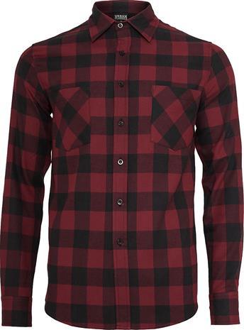 Urban Classics - Checked Flannel Shirt - Flanellipaita - Miehet - Musta burgundinpunainen