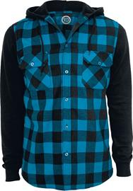 RED by EMP - Hooded Checked Flanell Sweat Sleeve Shirt - Flanellipaita - Miehet - Musta turkoosi