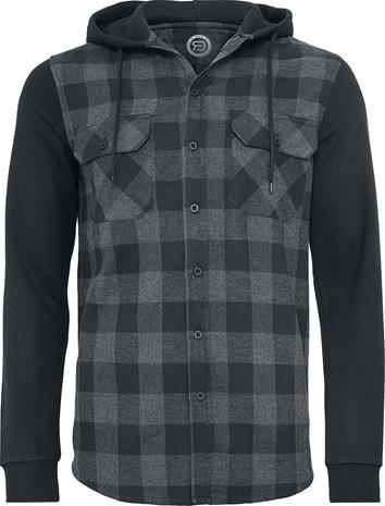 RED by EMP - Hooded Checked Flanell Sweat Sleeve Shirt - Flanellipaita - Miehet - Musta harmaa