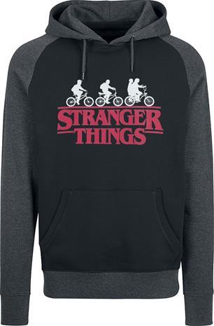 Stranger Things - Logo - Huppari - Miehet - Musta harmaa
