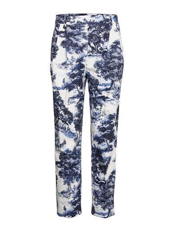 Andiata Seena 2 Trousers Suoralahkeiset Housut Sininen Andiata SAPPHIRE BLUE PRINT