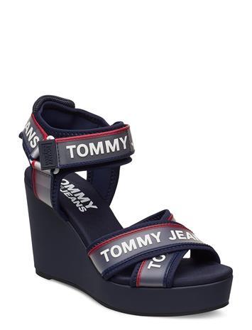Tommy Hilfiger Pop Color Wedge Kiilakorkokengät Sininen Tommy Hilfiger TWILLIGHT NAVY