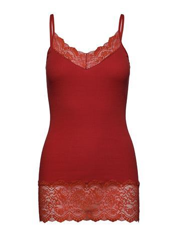 Rosemunde Organic Strap Top Medium W/ Lace T-shirts & Tops Sleeveless Punainen Rosemunde RED OCHRE