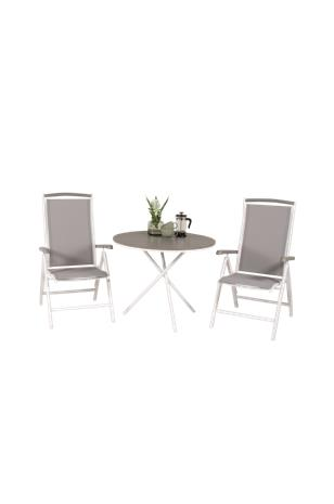 NORDFORM Kahvilapöytä Pascal ja 2 ruokapöydän tuolia Athena