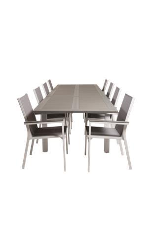 NORDFORM Ruokapöytä Athena ja 8 kpl ruokapöydän tuoleja Pascal