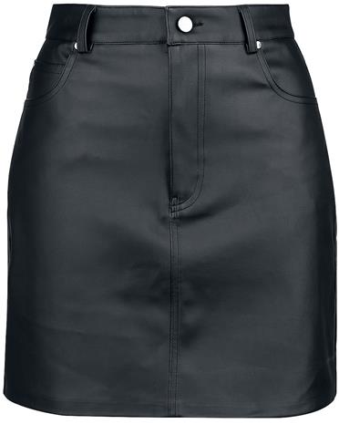 Fashion Victim - Faux Leather Skirt - Lyhyt hame - Naiset - Musta