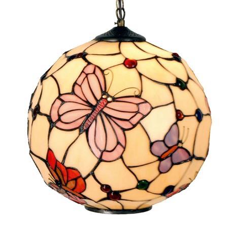 Clayre & Eef Rosy Butterfly -riippuvalaisin Tiffany-tyylillä
