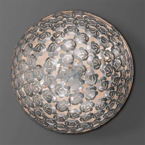 Ferro Luce Ruusukoristeella - hopeinen kattolamppu Mia, 80 cm