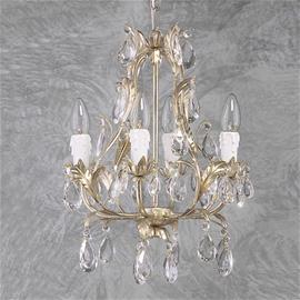 Ferro Luce Nelilamppuinen kattokruunu PISA hopea, lasia