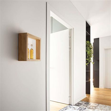 Fabas Luce LED-seinävalaisin Window, 37 x 37 cm, tammi