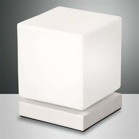 Fabas Luce Kosketushimmennin LED-pöytälamppu Brenta valkoinen