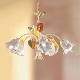Ceramiche Riippuvalaisin Flora, firenzeläistyyli, 5 lamppua