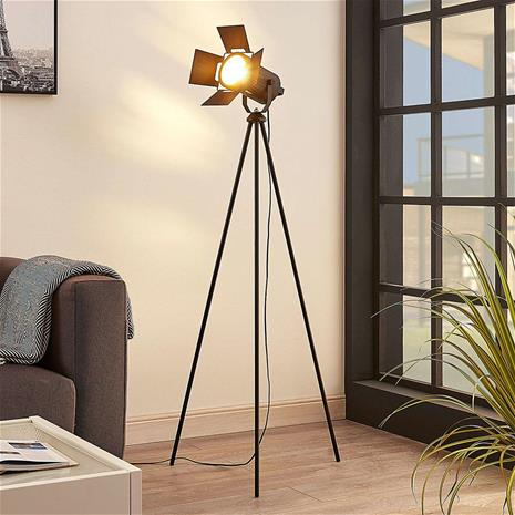 Lampenwelt.com Kolmijalkainen lattiavalaisin Devon, musta