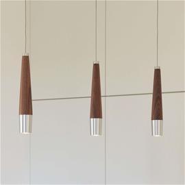 HerzBlut LED-riippuvalaisin Conico, pähkinäpuinen elementti