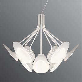 Kundalini 12-lamppuinen LED-riippuvalaisin Peacock valkoinen